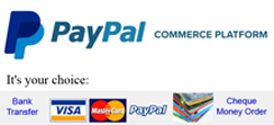 Payment by Paypal, Debit/Credit Card or Bank Transfer